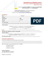 Demande Accréditation CDLN 2015