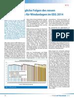 Mögliche Folgen des neuen Ausbaukorridors für Windanlagen im EEG 2014