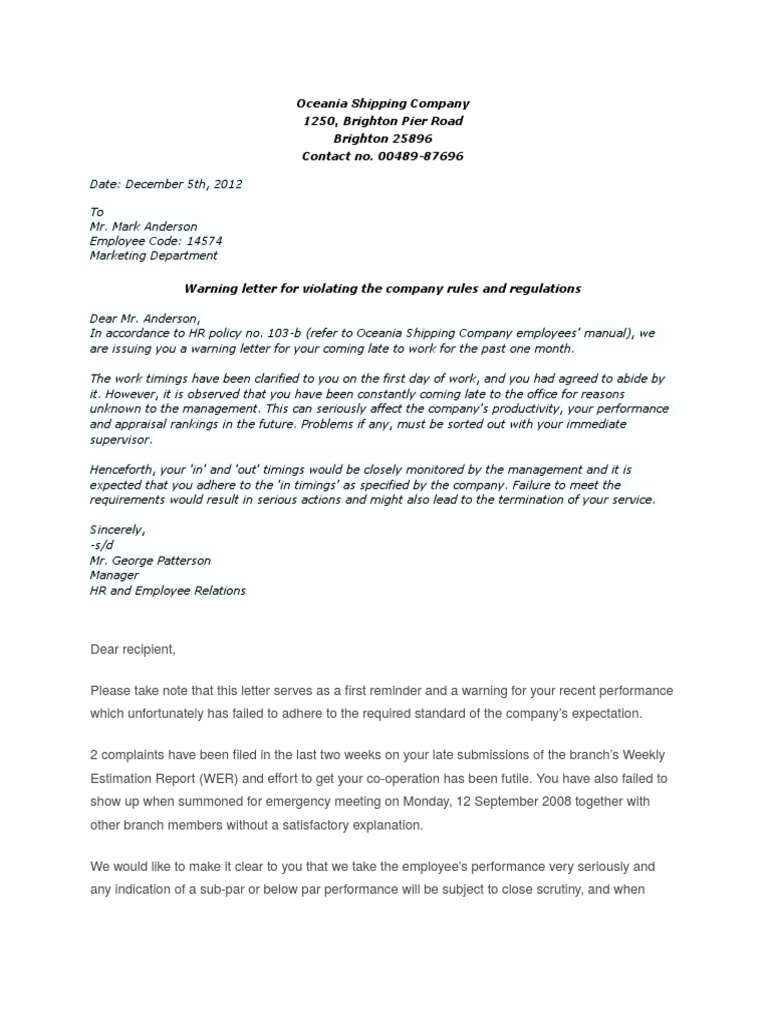 Warning letter sample performance appraisal employment spiritdancerdesigns Images