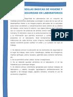 Reglas Básicas de Higiene y Seguridad en Laboratorios