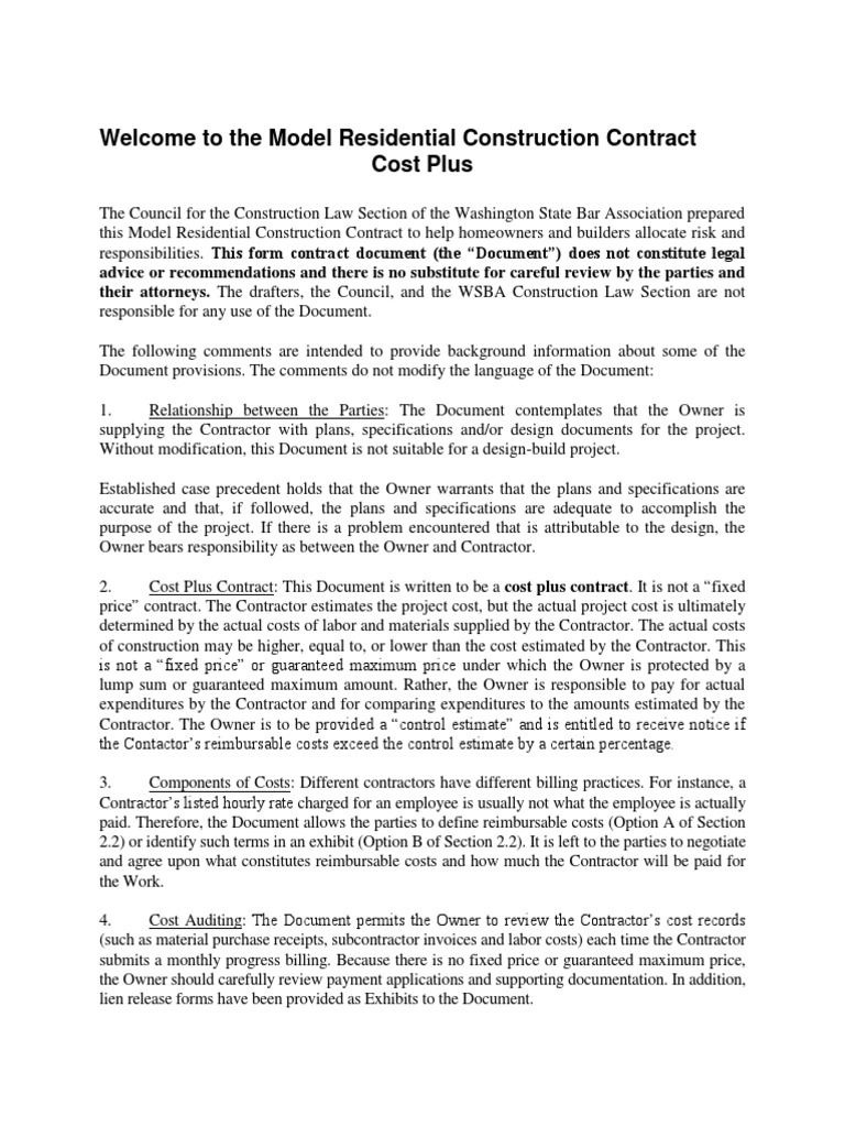 Model Residential Construction Contract Cost Plus Version