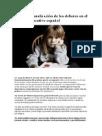 Por La Racionalización de Los Deberes en El Sistema Educativo Español