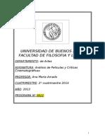 Análisis y Crítica, Programa 2014