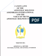 Canon Laws of the United Apostolic Holiness Assemblies International