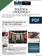 25-05-15 Congresistas de oposición, en el 'Top 5' de rendimiento