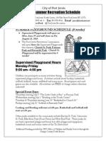2015 City of Port Jervis Recreation Department Summer Flyer