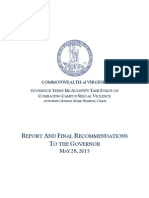 Final Report from Virginia Task Force on Combating Campus Sexual Violence