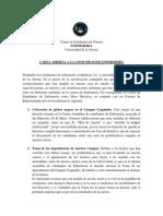 CARTA ABIERTA A LA COMUNIDAD UNIVERSITARIA