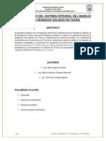 Paper Trabajo de Investigacion Mejoramiento Del Sistema de Manejo de Residuos Solidos de Tacna