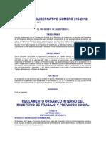 Acuerdo Gubernativo 215-2012 ROI MTPS