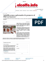 25-05-15 Astudillo Acusa a Gobernador de Promover Al PRD en Guerrero