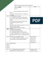 Cronograma Das Aulas Da Disciplina de Economia Política