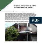 Rumah Dijual Di Cibubur, Jakarta Timur, Rp. 1 Miliar an, Siap Huni, Full Furnish - www.rumahku.com