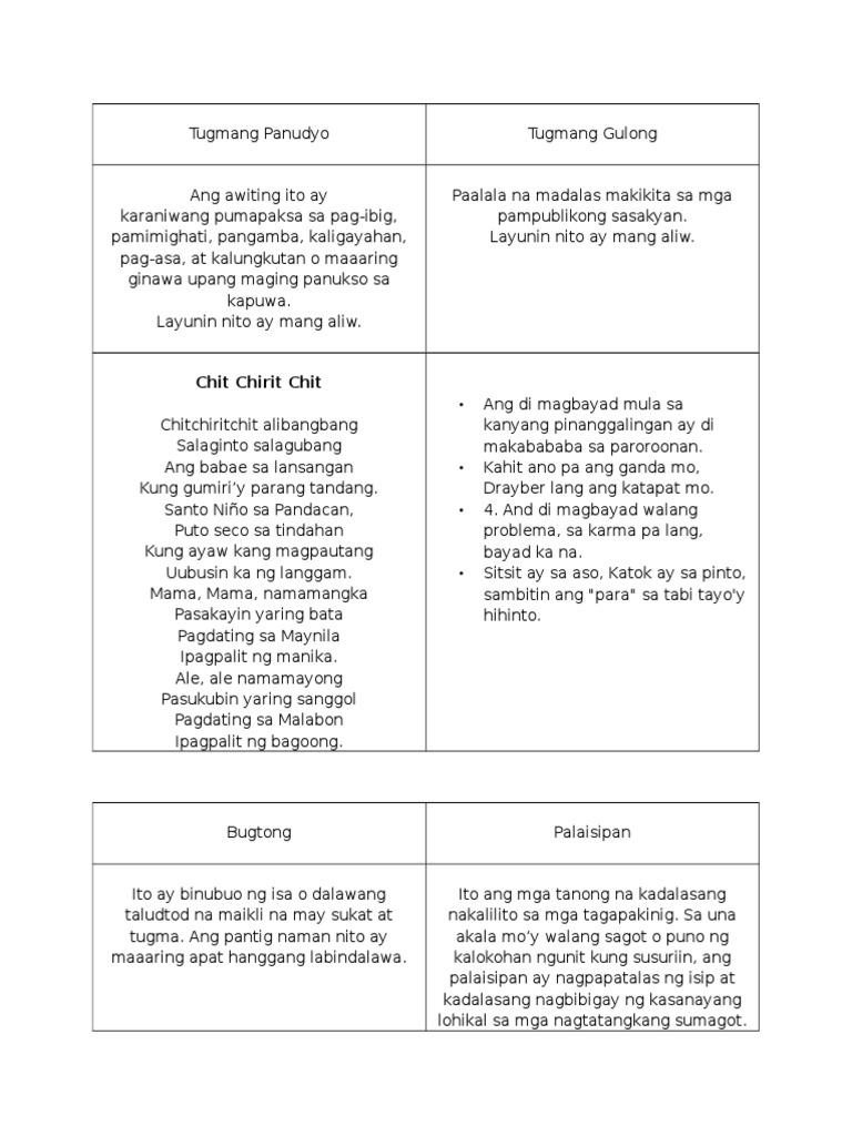 five examples awiting bayan Awiting-bayan: mga awit ng bayan diyuna, talindaw kahulugan sa wikang filipino mga halimbawa halimbawa ng isang nakatutuwang kantahing-bayan.