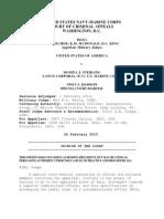 Sterling Court Martial Appeals Decision