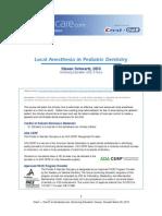 Local Anesthetic in Pediatric Denstistry