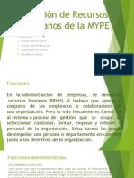 Gestión de Recursos Humanos de La MYPE