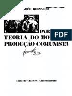 BERNARDO, João. Para uma teoria do modo de produção comunista. Porto, Afrontamento, 1975 [COMPLETO]