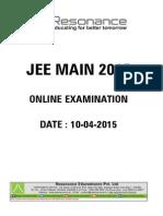 Jee Main Online Paper 1 2015