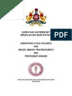 Karnataka Government Music Exam Hindustani Vocal Syllabus 25May2015