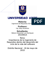 Ensayo Importancia Ingenieria de Requisitos - Watson Luis