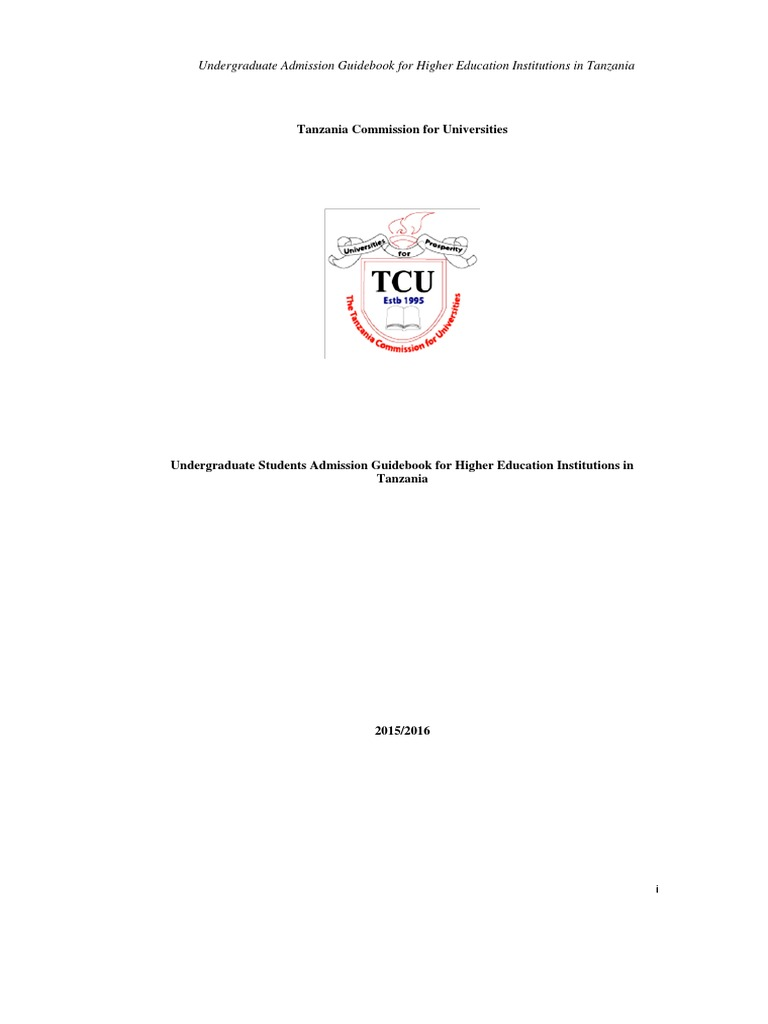 2015/2016 TCU Undegraduate Admission Guidebook for 2015/16 Academic Year    University And College Admission   Diploma