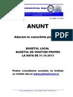 Bugetul Local Al Municipiului Iasi La Data de 31 Octombrie 2013