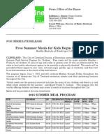 2015 Summer Meals Press Release