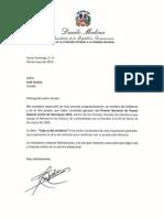 Cartas de felicitaciones del presidente Danilo Medina a los galardonados con los Premios Anuales de Literatura