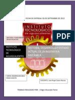 Historia, Desarrollo y Estado Actual de La Ingeniería Mecánica