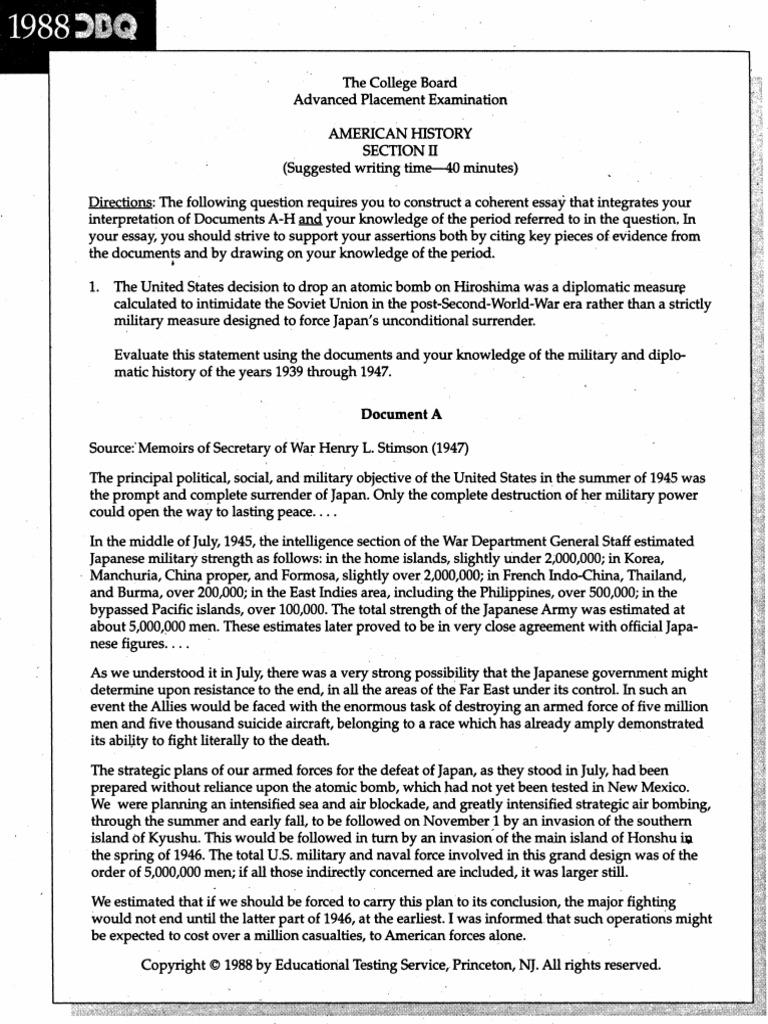 1988 apush dbq atomic bomb essay