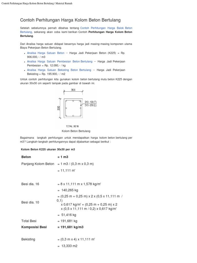 contoh perhitungan harga kolom beton