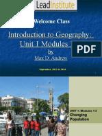 Unit 1 Module 1-5 Population Change - Distribution Density Migration Structure Resources