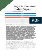 Hommage à Mon Ami Abdelmalek Sayad
