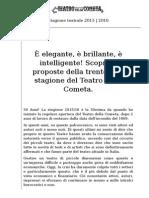Teatro Della Cometa 2015-2016_stagione Spettacoli 2015 - 2016