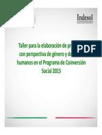 Elaboración de Proyectos Con Perspectiva de Género y DH en El PCS 2015