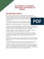 Enfoque Sistemico VS Enfoque Reduccionista