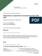 Alegaciones a La Oposición de La Ejecución (Artículo 559 LEC)