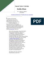 Samuel Taylor Coleridge Kubla Khan
