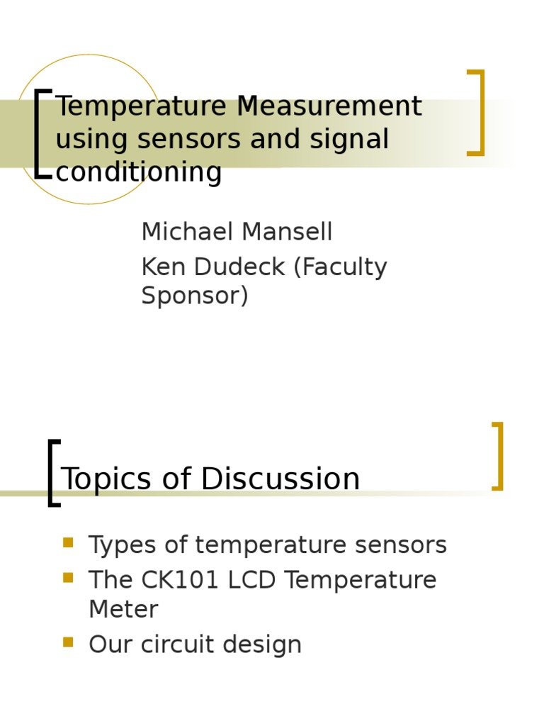 Temperature Measurement Using Sensors And Signal Conditioning Meter Circuit Thermocouple Electrical Resistance Conductance