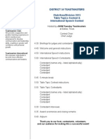 Spring 2014 Contest Agenda