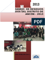 (III) Plan de Manejo de Residuos Solidos 2013