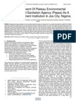 An Assessment of Plateau Environmental Protection and Sanitation Agency Pepsa as a Waste Management Institution in Jos City Nigeria