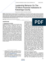 Effect of Leadership Behavior on the Performance of Micro Financial Institutions in Kakamega County
