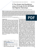 Modelling of the Kinetic and Equilibrium Sorption Behaviour of Crude Oil on Hdtmab Modified Nigerian Nanoclays