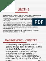 • Management Concept, Nature, Importance, Management Art