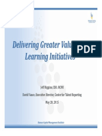 Delivering Greater Value With Our Learning Initiatives May 2015