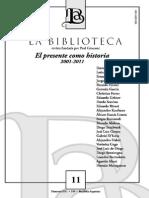 revista La Biblioteca n° 11, El presente como historia