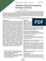 Prediction of Diabetes Using Soft Computing Techniques a Survey