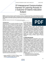 The Influence of Interpersonal Communication on the Effectiveness of Learning Process in Improving the Outcome of Islamic Education Subject